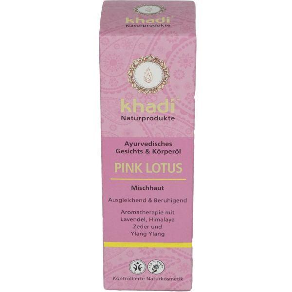Khadi Gesichtsöl und Körperöl Pink Lotus - normale und Mischaut 100ml