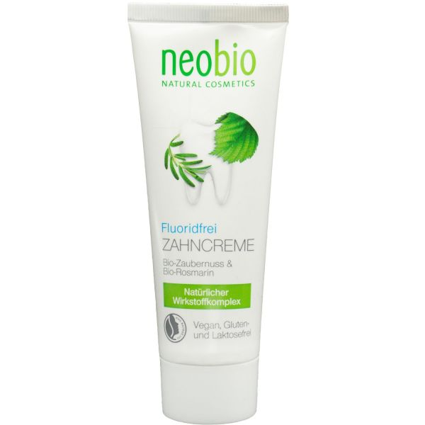 Neobio Zahncreme Fluoridfrei - Bio-Zaubernuss & Bio-Rosmarin75ml