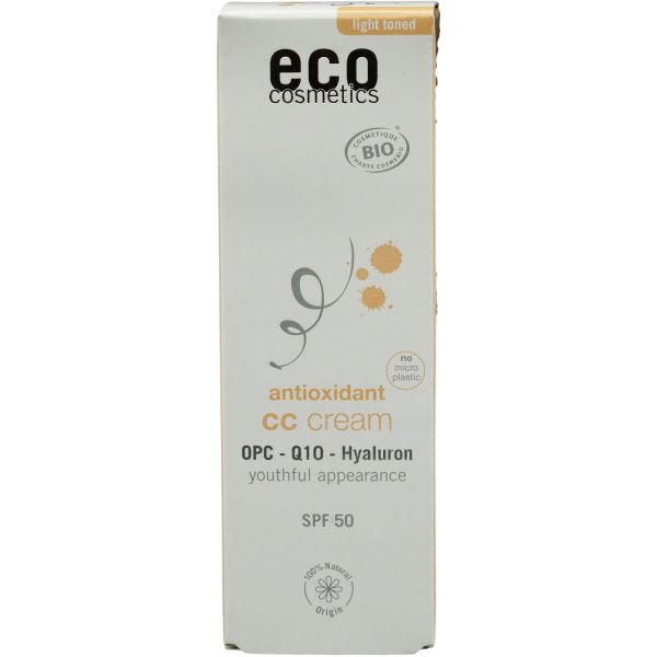 Eco Cosmetics CC Creme hell getönt LSF 50 mit OPC, Coenzyme Q10 und Hyaluron 50ml